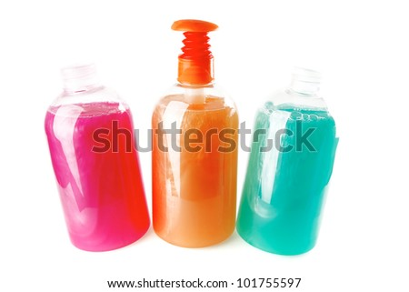 kit of many clean soap over white background