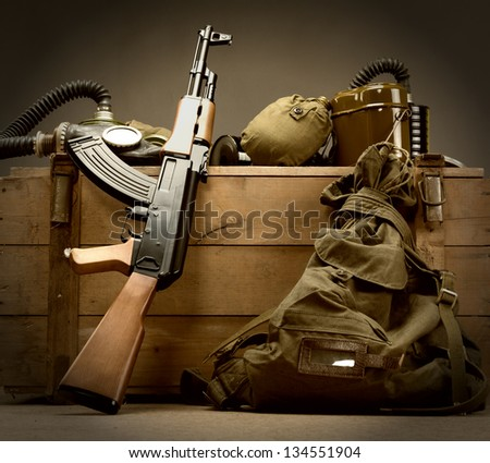 Kit of old USSR military equipment - stock photo