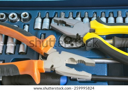 Kit of tools for repair of technique - stock photo
