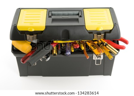 Kit of tools in professional toolbox - stock photo