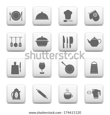 Kitchen and cooking web buttons - stock photo