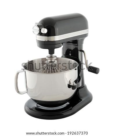 Kitchen appliances - black planetary mixer, isolated on a white background - stock photo