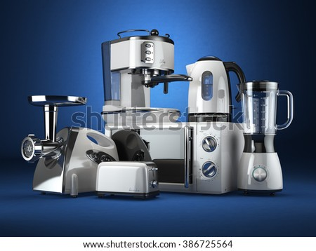 Kitchen appliances. Blender, toaster, coffee machine, meat ginder, microwave oven and kettle. 3d - stock photo