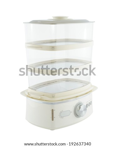 Kitchen appliances - food steamer, isolated on a white background - stock photo