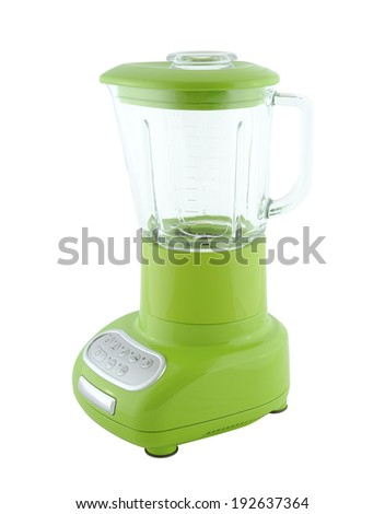 Kitchen appliances - green blender, isolated on a white background - stock photo