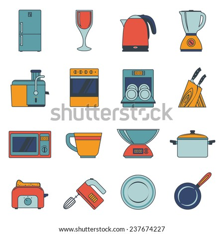 Kitchen appliances icons flat set with fridge wine glass kettle blender isolated  illustration