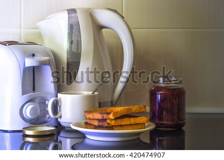 Kitchen appliances, kettle and toaster.