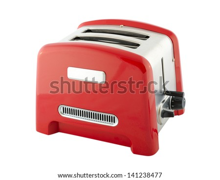 Kitchen appliances - toaster of silver and red color, isolated on a white background