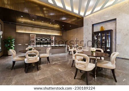 Kitchen area with marble floor of a show room - stock photo
