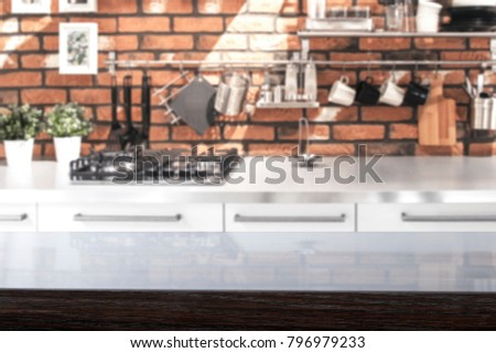 Kitchen background and desk of free space for your decoration.