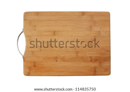 kitchen bamboo cutting board isolated on a white background - stock photo
