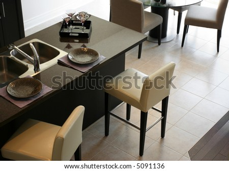 Kitchen bar overview - stock photo
