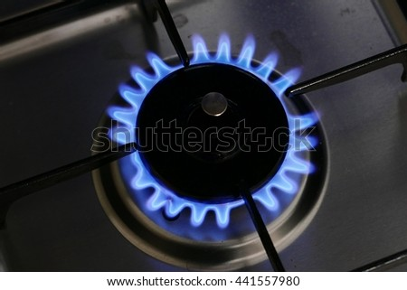 kitchen blue gas fire - stock photo