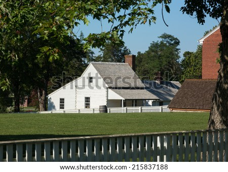 Kitchen building of McLean House was the building in Appomattox which was the site of the surrender of Southern Army April 9, 1865 - stock photo