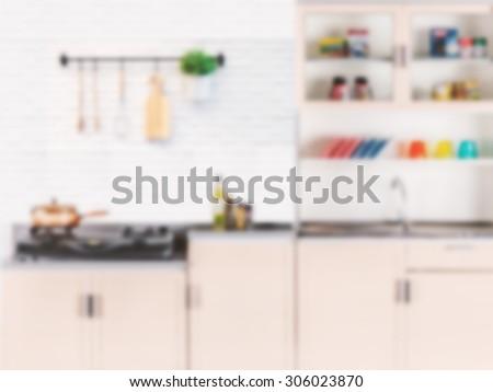 kitchen cabinets blurred background - stock photo