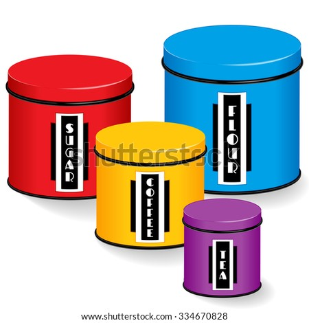 Kitchen Canisters with Art Deco labels, four multi color food storage tins with lids, small, medium and large sizes, black and white labels: flour, sugar, coffee, tea, isolated on white.  - stock photo