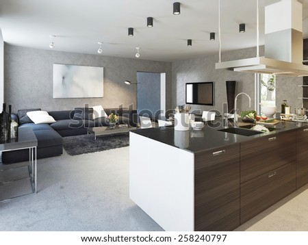 Kitchen contemporary style, 3d images
