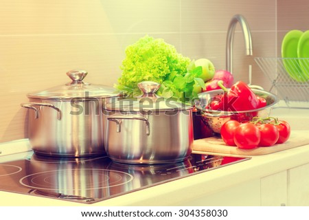 Kitchen Cooking closeup. Diet, dieting concept. Cooking at home. Healthy eating - stock photo