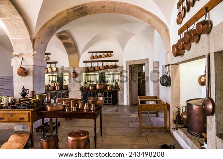 kitchen copper utensil - interior of National Palace of Sintra, Portugal - stock photo