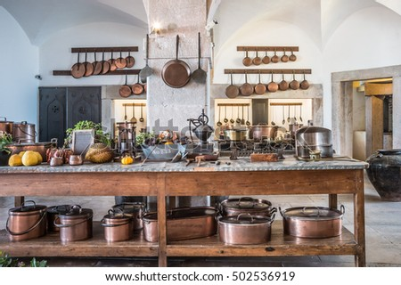 Kitchen Copper Utensil Interior National Palace Stock Photo ...