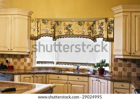 kitchen counter window. Kitchen Counter With Granite Top And Valence On Window. Window