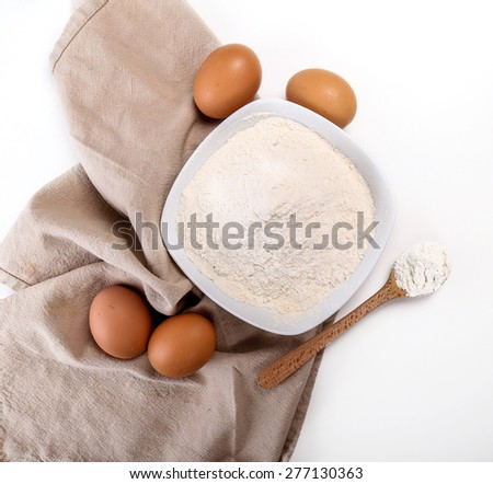 Kitchen, cuisine. Dough and eggs on the table