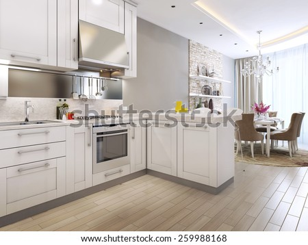 kitchen diner in neoclassical style, 3d images - stock photo