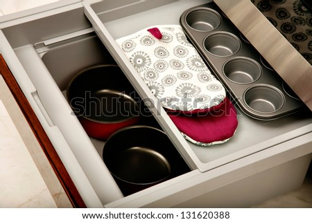 Kitchen drawer with compartments - stock photo