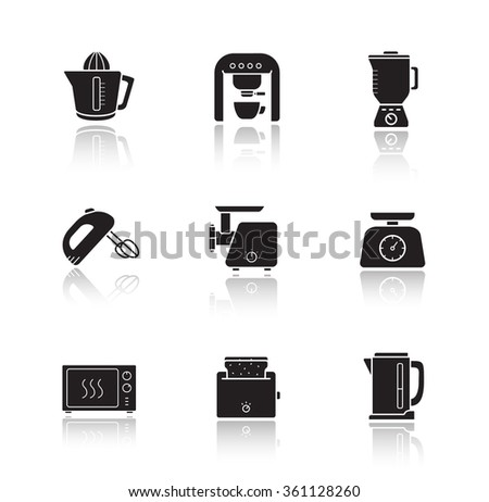 Kitchen electronics drop shadow icons set. Kitchenware electric appliances items. Consumer household cooking devices. Black silhouette illustrations isolated on white. Raster infographics elements