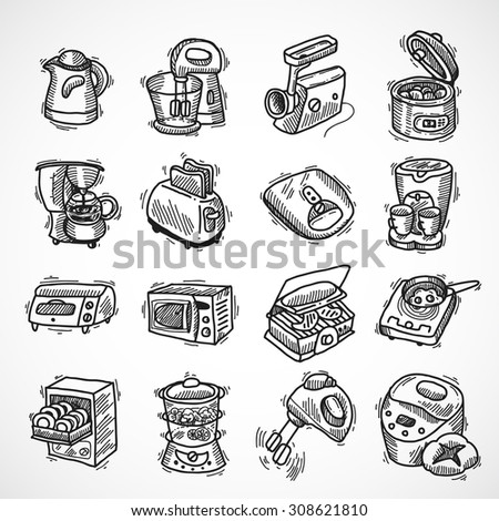 Kitchen equipment and appliances sketch decorative icons set with toaster coffee machine blender isolated  illustration - stock photo