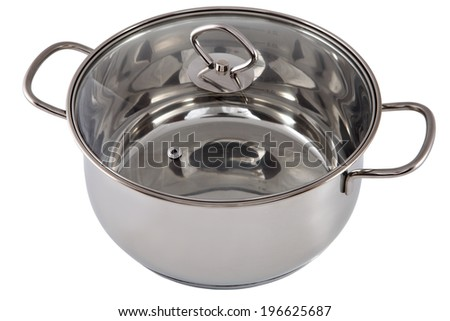 Kitchen equipment, One Casserole Pan Stainless Steel with transparent tempered glass lid,  no people, nobody, isolated on white background