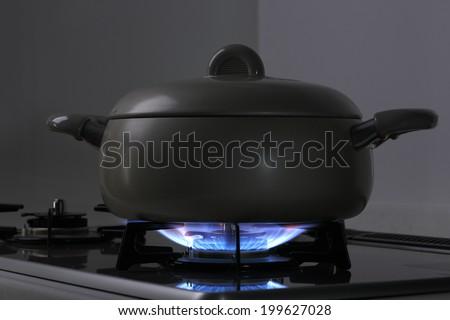 kitchen gas range - stock photo