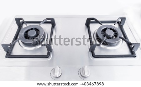 Kitchen gas stove in the kitchen - stock photo