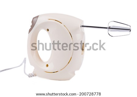 Kitchen hand mixer. Isolated on a white background. - stock photo