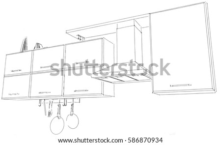 Kitchen hood with cabinets and shelf outline sketch. 3D Black pencil lines on white background.