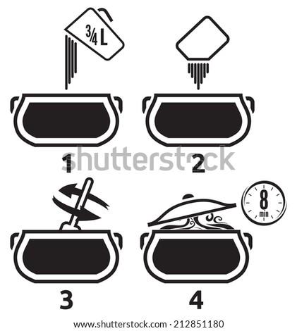Kitchen icons set how to prepare - stock photo