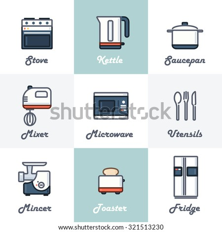 Kitchen Icons Set (Stove, Kettle, Saucepan, Mixer, Microwave, Utensils, Mincer, Toaster, Fridge). Trendy Thin Line Design with Flat Elements. Raster Copy. - stock photo