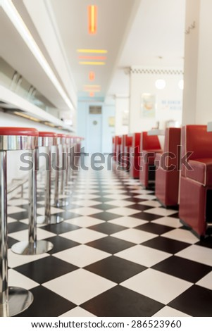 kitchen in a american diner restaurant blur - stock photo