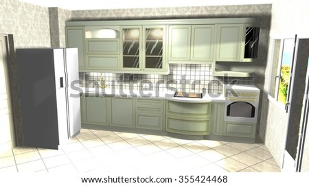 kitchen in a classic style, interior design green 3D rendering illustration