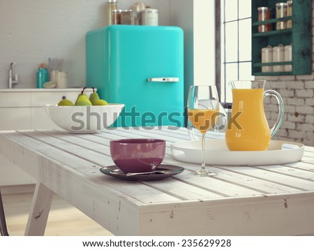 Kitchen in a vintage apartment with coffee and juice. 3d rendering - stock photo