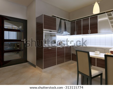 Kitchen in contemporary style. Dark brown kitchen with aluminum inserts, white walls, door mirror, beige tiled floor. 3D render
