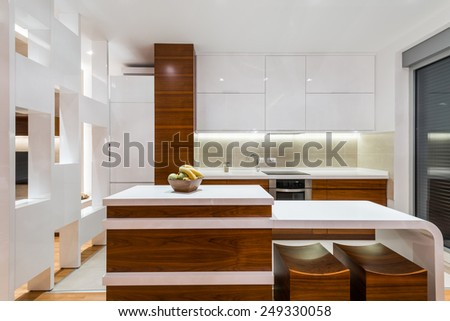 Kitchen in luxury apartment - stock photo