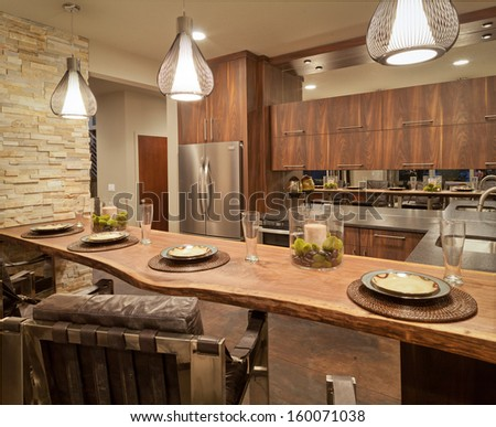 Kitchen in Luxury Home - stock photo