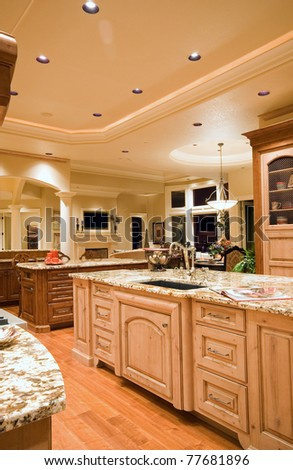 Kitchen in Luxury Home: View of Island - stock photo