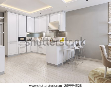 kitchen in modern style, 3d images - stock photo