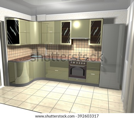 kitchen in modern style green color, 3d images