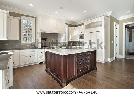 Kitchen With Center Island upscale home interior stock photos, royalty-free images & vectors