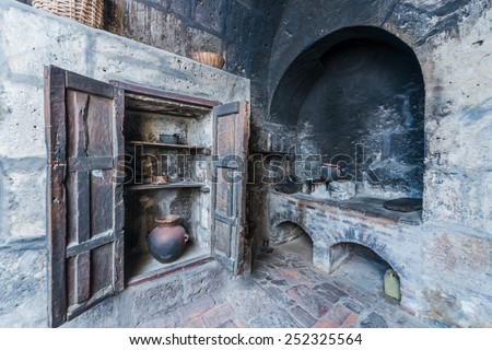 kitchen in Santa Catalina monastery in the peruvian Andes at Arequipa Peru - stock photo