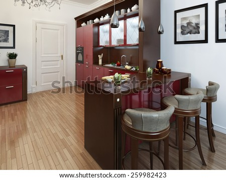 Kitchen in the Art Deco style, 3d images