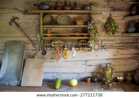 kitchen in the house of a poor peasant in the old Russian style - stock photo